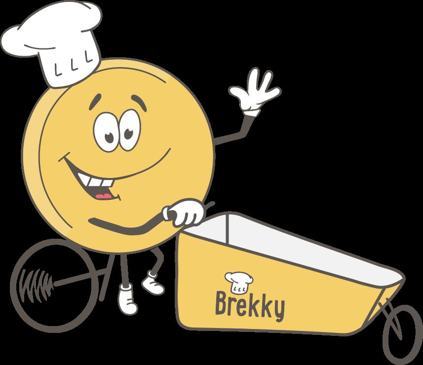Brekky mascotte op de bakfiets